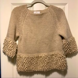 Belle France sweater with popcorn knit sleeves